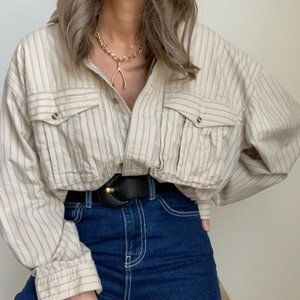 Vintage Tops - Vintage Oat Striped Dolman Button Up Blouse